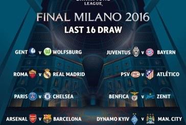 Danh sách 16 đội vòng 1/8 C1 2015
