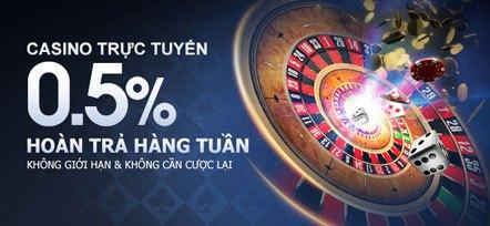 Hoàn trả hàng tuần 0.5% tại casino trực tuyến m88